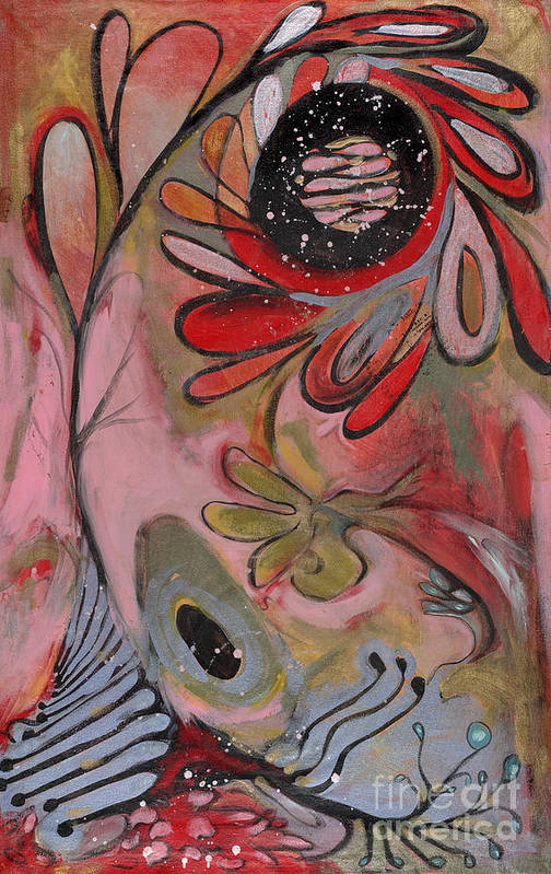 Painting Art Print featuring the painting Red Flower by Michelle Spiziri