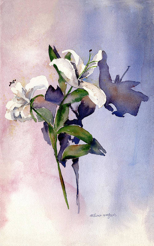 Lillies Art Print featuring the painting Shadow Lilies by Arline Wagner
