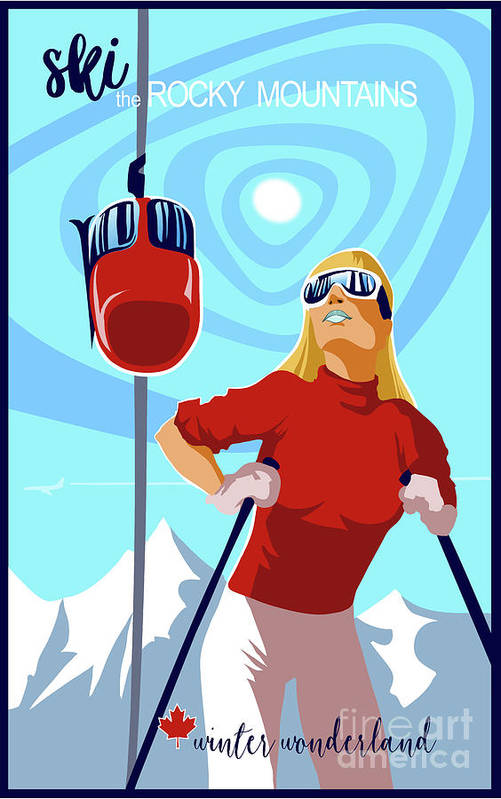 Retro Ski Poster Art Print featuring the painting Ski Bunny Retro Ski Poster by Sassan Filsoof