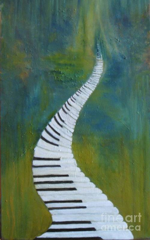 Impressionism Art Print featuring the painting Stairway To Heaven by Rachel Wollach Asherovitz