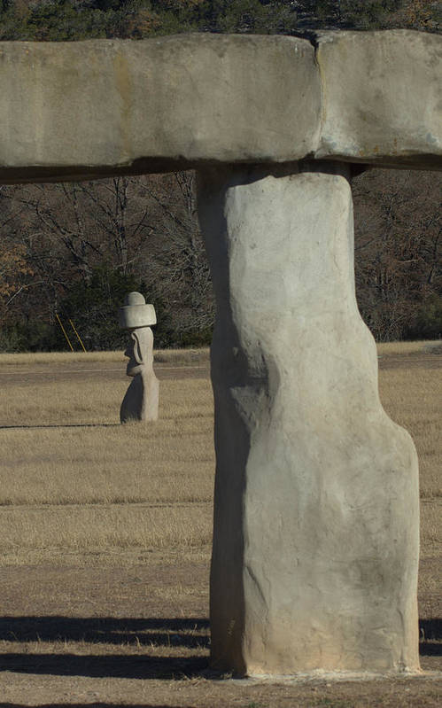 Stonehenge Art Print featuring the photograph Stonehenge Two Meets Easter Island by Karen Musick