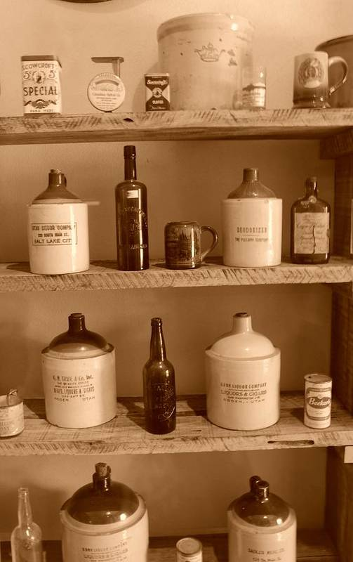 Sepia Photographs Art Print featuring the photograph Vintage Jugs by Dennis Hammer