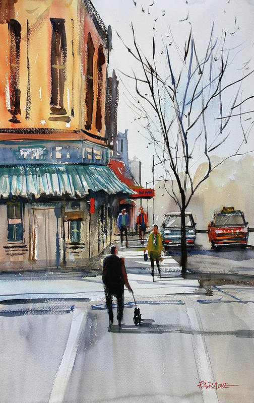 Paintings Art Print featuring the painting Walking The Dog by Ryan Radke