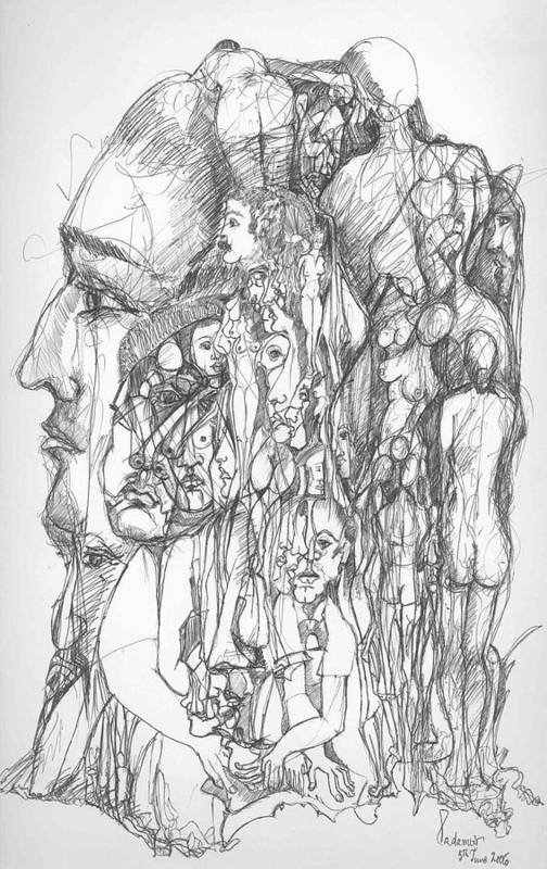 Surreal Art Print featuring the drawing What by Padamvir Singh