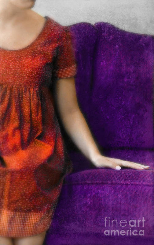 Woman Art Print featuring the photograph Young Woman In Red On Purple Couch by Jill Battaglia
