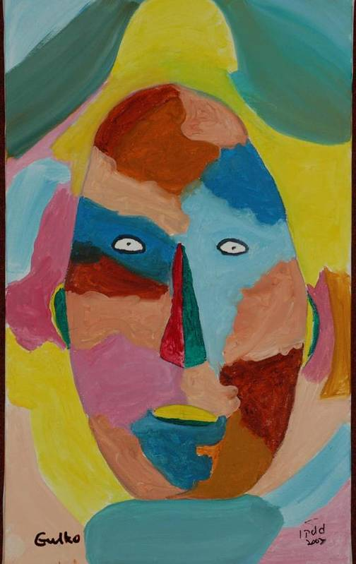 Mask Art Print featuring the painting Face In Limbo by Harris Gulko