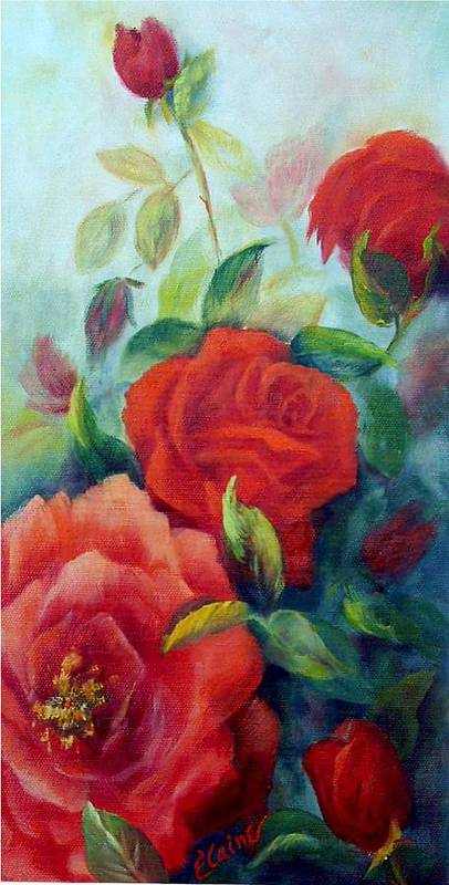 Roses Art Print featuring the painting Beauty In Coral by Elaine Bailey