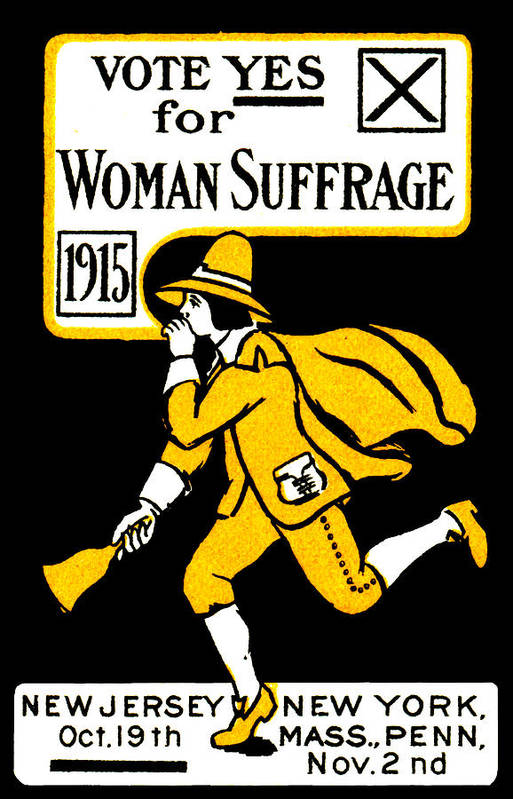 Vintage Art Print featuring the painting 1915 Vote Yes On Woman's Suffrage by Historic Image