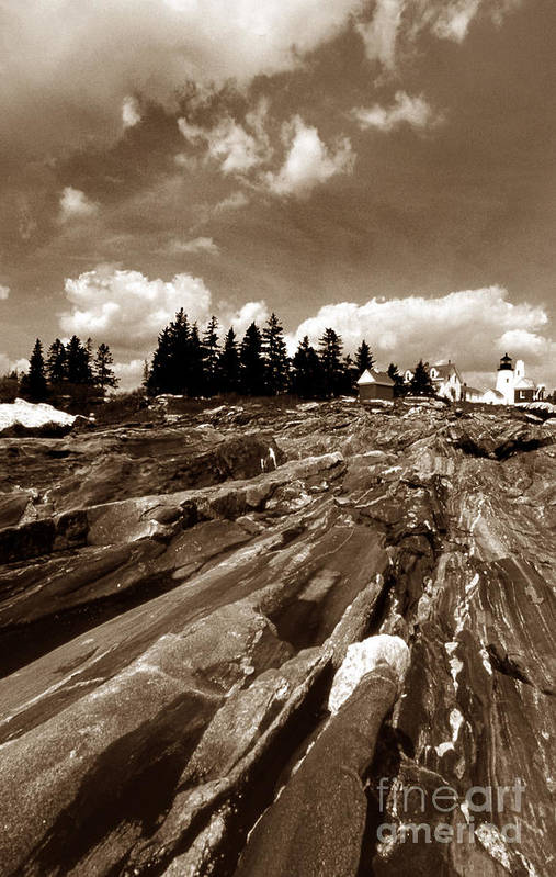Lighthouses Print featuring the photograph Pemaquid Rocks by Skip Willits