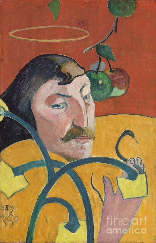 Self; Portrait; Artist; Halo; Post; Impressionist; Expressionism; Expressionist Print featuring the painting Self Portrait by Paul Gauguin