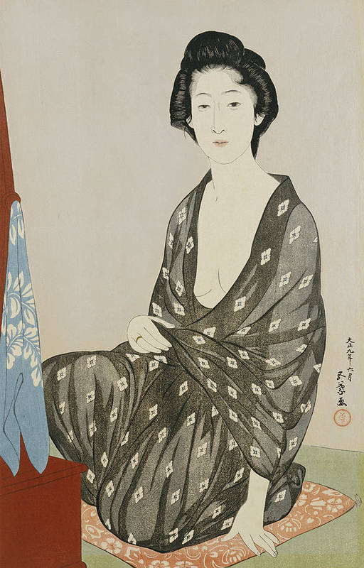 Hashiguchi Art Print featuring the painting A Beauty In A Black Kimono by Hashiguchi
