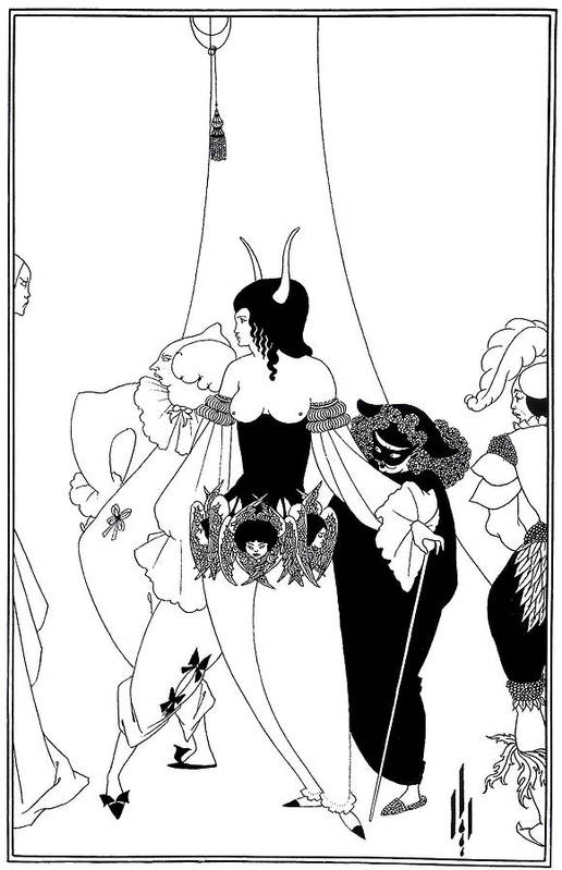Aubrey Beardsley Art Print featuring the drawing Aubrey Beardsley Edgar Allan Poe Illustration by