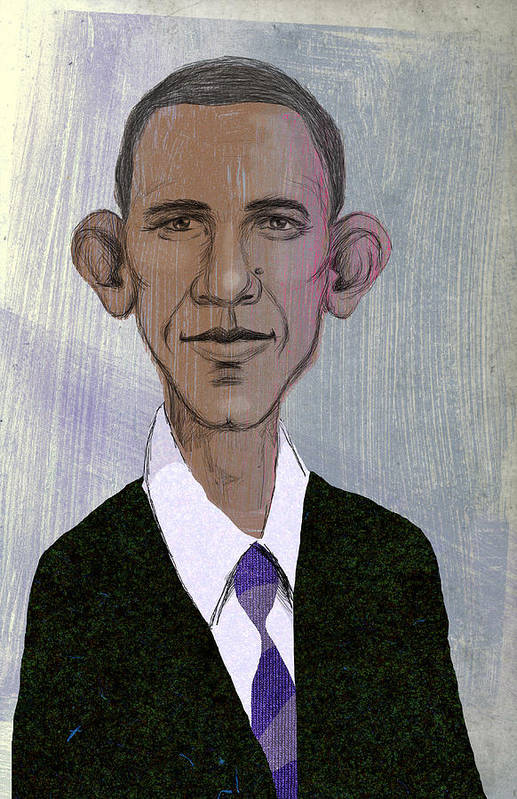 Steve Dininno Print featuring the drawing Barack Obama by Steve Dininno