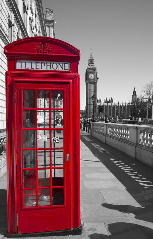 Westminster Art Print featuring the photograph Big Ben Red Telephone Box by David French