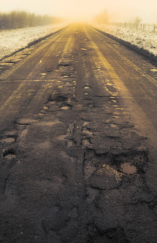 Cold Art Print featuring the photograph Broken Road by Svetlana Sewell