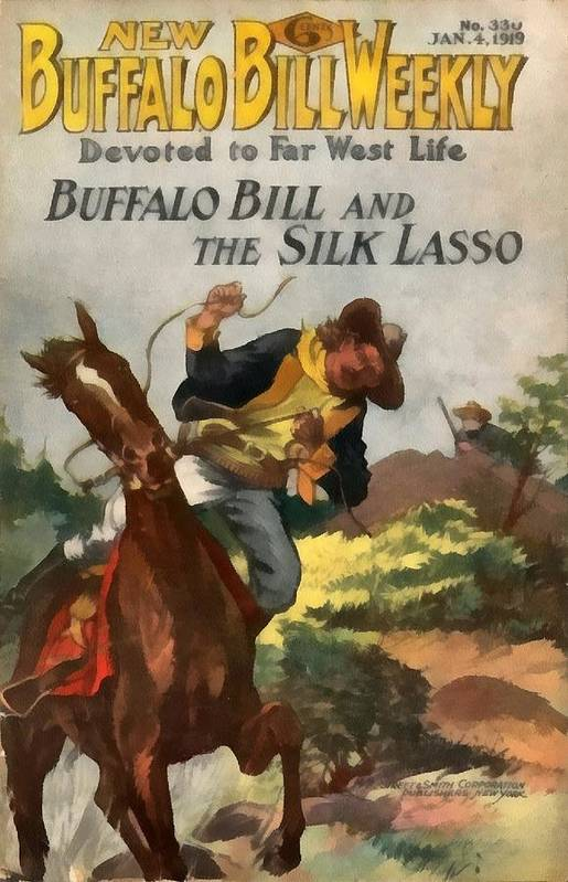 Buffalo Bill Weekly Art Print featuring the digital art Buffalo Bill And The Silk Lasso by Dime Novel Collection