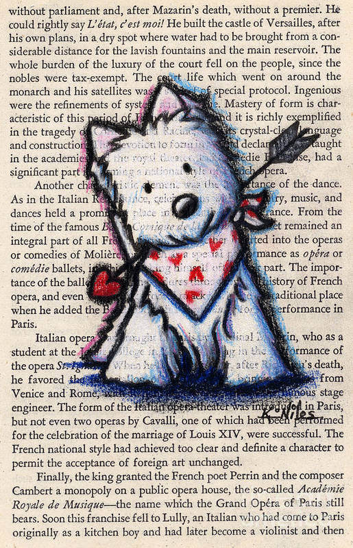 Cupid Print featuring the drawing Cupid Westie by Kim Niles