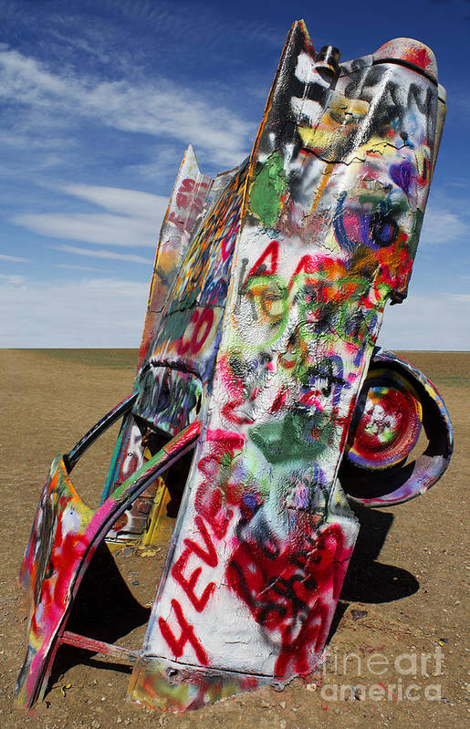 Cadillac Ranch Art Print featuring the photograph Did Not Notice The Stop Sign by Elena Nosyreva