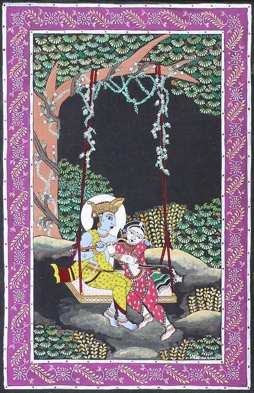 Krishna Art Print featuring the painting Eternal Romance by Prasida Yerra