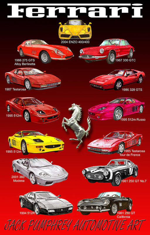 Framed Prints Of Ferrari Art Art Print featuring the painting Ferrari Poster Art by Jack Pumphrey