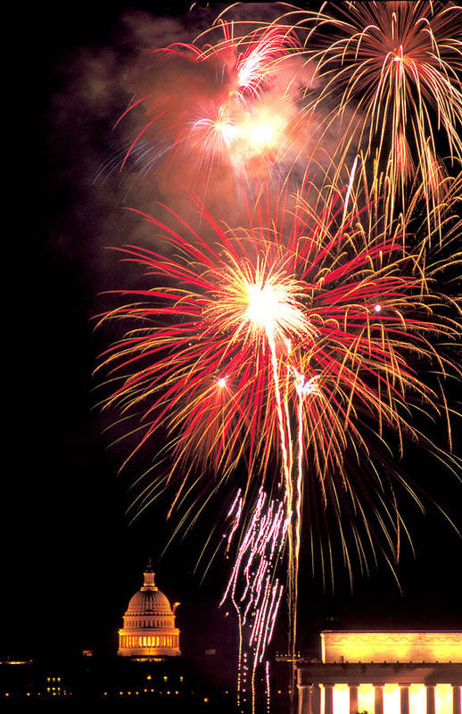 Capital Art Print featuring the photograph Fireworks Over Washington Dc by Carl Purcell