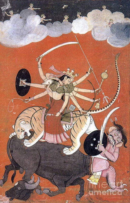 Religion Art Print featuring the photograph Hindu Goddess Durga Fights Mahishasur by Photo Researchers