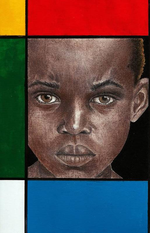 African American Artwork Art Print featuring the mixed media Intense by Edith Peterson