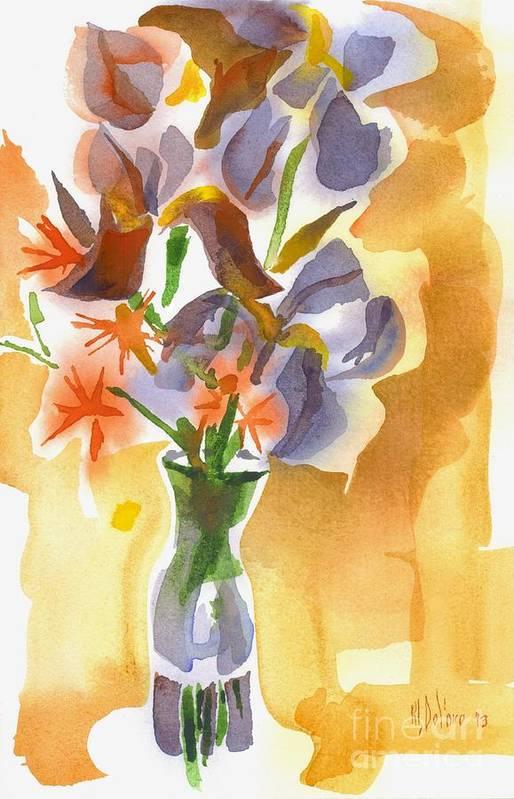 Irises With Stars Of Bethlehem Art Print featuring the painting Irises With Stars Of Bethlehem by Kip DeVore
