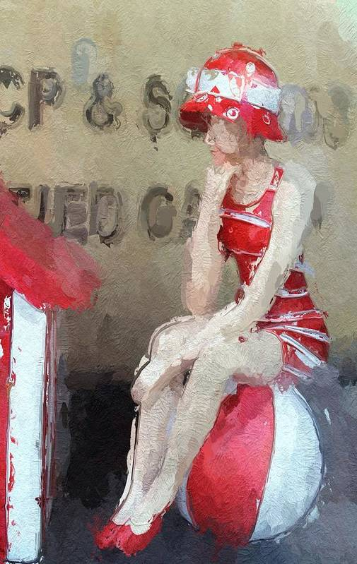Toy Shop Girl Female Puppet Princess Beach Ball Red White Sitting Summer Beauty Expressionism Impressionism Store Window 20s 30s Vintage Painting Digital Art Art Print featuring the digital art Little Toy Shop Princess by Steve K