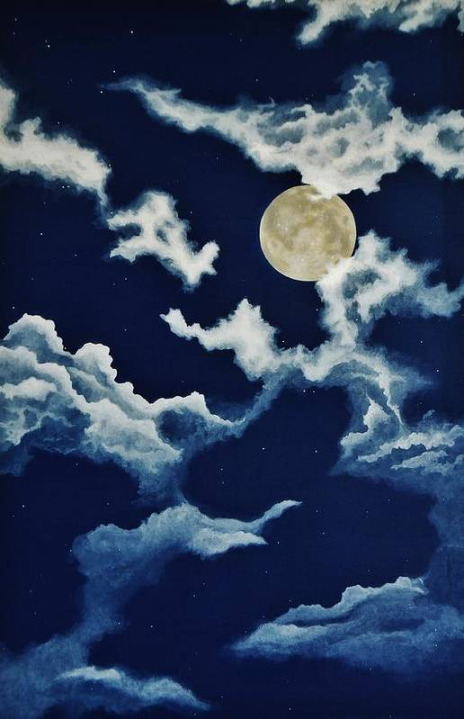 Print Print featuring the painting Look At The Moon by Katherine Young-Beck