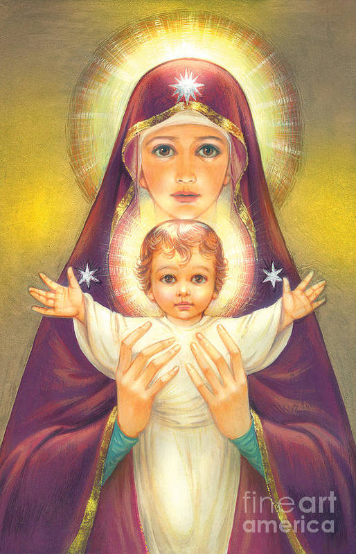 Mother Of God Art Print featuring the digital art Madonna And Baby Jesus by Zorina Baldescu