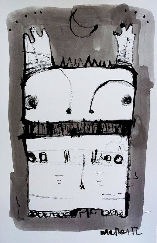 Sumi Art Print featuring the drawing Monstra No. 1 by Mark M Mellon