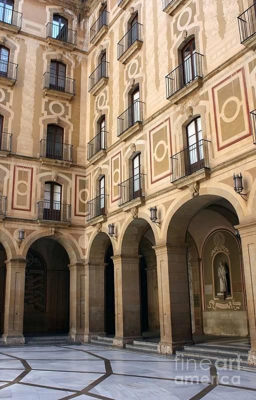 Montserrat Art Print featuring the photograph Montserrat Monastery Courtyard by Sophie Vigneault