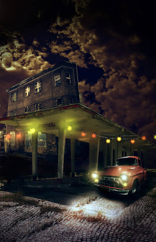 Car Art Print featuring the digital art Night Fill by Nathan Wright