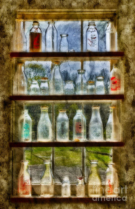 Milk Print featuring the photograph Old Fashioned Milk Bottles by Susan Candelario