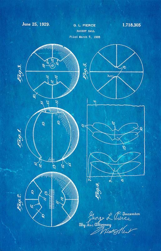 Basket Ball Print featuring the photograph Pierce Basketball Patent Art 1929 Blueprint by Ian Monk