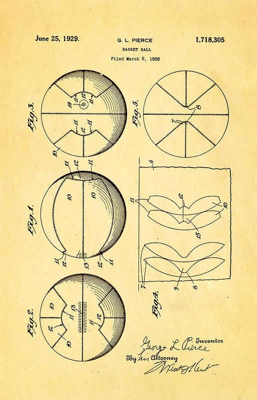 Basket Ball Art Print featuring the photograph Pierce Basketball Patent Art 1929 by Ian Monk