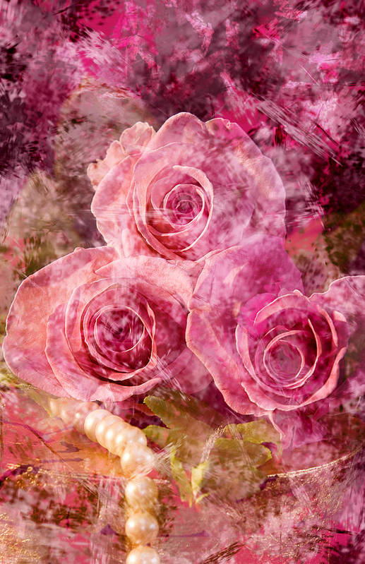 Roses Art Print featuring the photograph Pink Roses And Pearls by Phyllis Denton