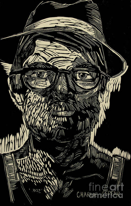 Portrait Art Print featuring the painting Portrait Of The Artist In A Fedora Final Stage by Charlie Spear
