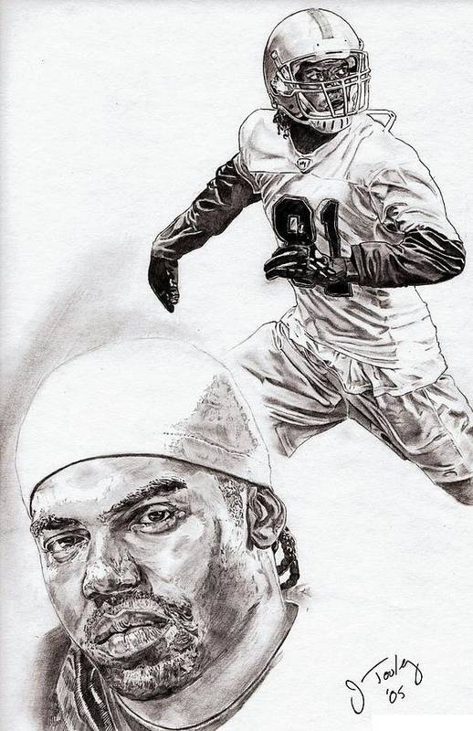 Randy Moss Print featuring the drawing Randy Moss by Jonathan Tooley