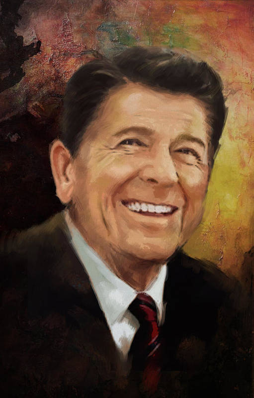 Rancho Del Cielo Art Print featuring the painting Ronald Reagan Portrait 8 by Corporate Art Task Force