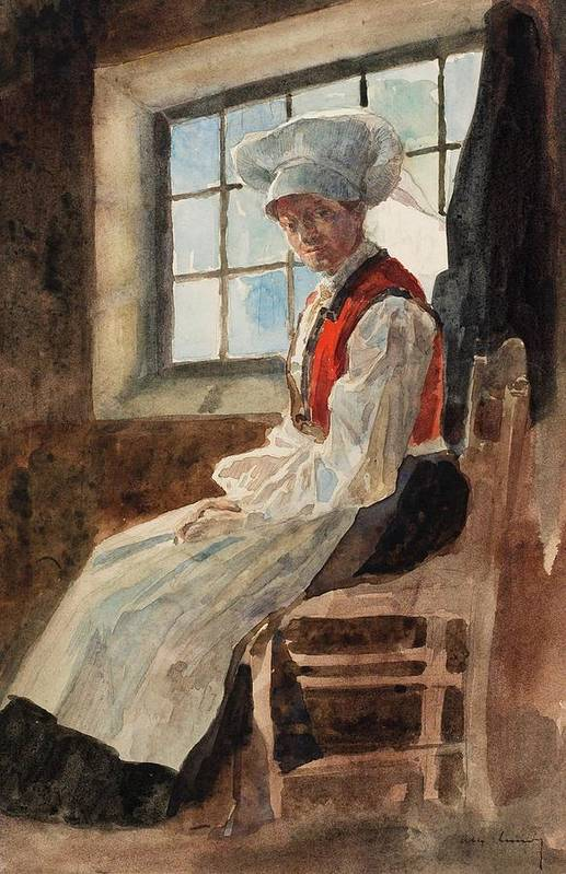Scandinavia Print featuring the painting Scandinavian Peasant Woman In An Interior by Alexandre Lunois