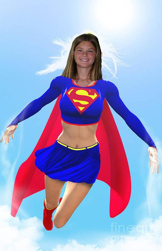 Superwoman Art Print featuring the drawing Super Nina by Allan Hughes