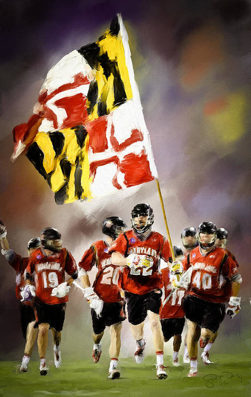 Lacrosse Art Print featuring the painting Team Maryland by Scott Melby