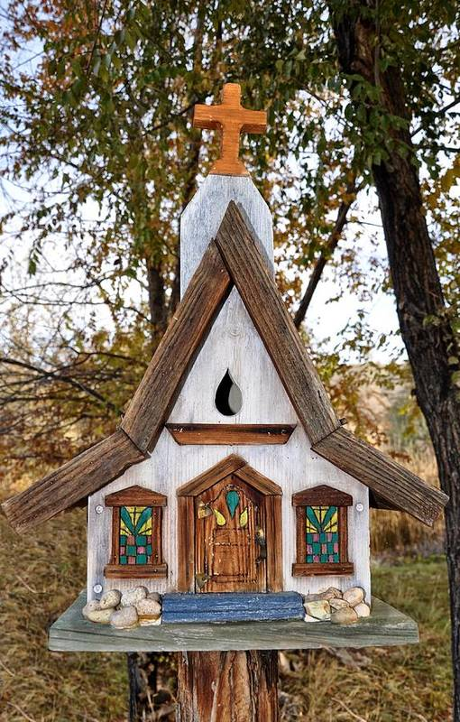 Melba; Idaho; Birdhouse; Shelter; Outdoor; Fall; Autumn; Leaves; Plant; Vegetation; Land; Landscape; Tree; Branch; House; Cross; Art Print featuring the photograph The Birdhouse Kingdom - Steller's Jay by Image Takers Photography LLC - Carol Haddon