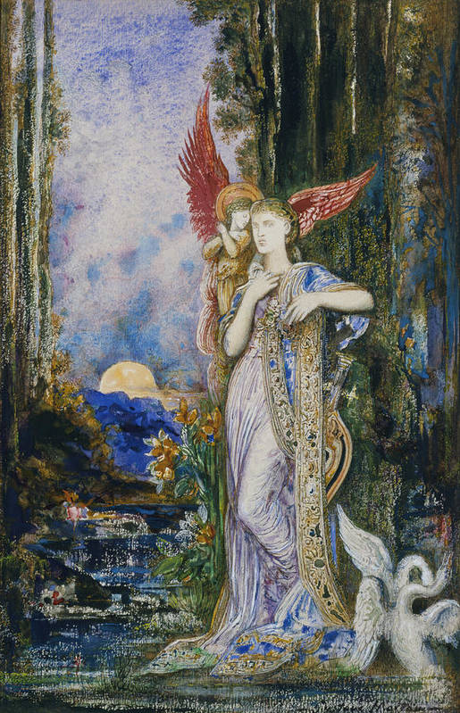 Angels; Moon; Female; Symbolism; Symbolist Art Print featuring the painting The Inspiration by Gustave Moreau