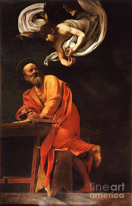 1596 Paintings Art Print featuring the painting The Inspiration Of Saint Matthew by Pg Reproductions