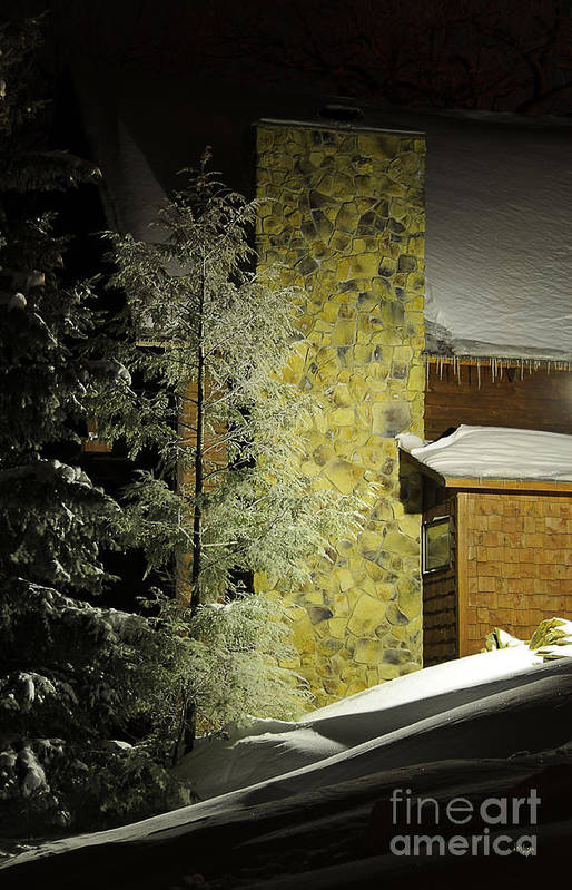 Snow Art Print featuring the photograph The Night Light by Lois Bryan