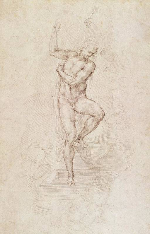 Drawing Art Print featuring the painting W53r The Risen Christ Study For The Fresco Of The Last Judgement In The Sistine Chapel Vatican by Michelangelo Buonarroti