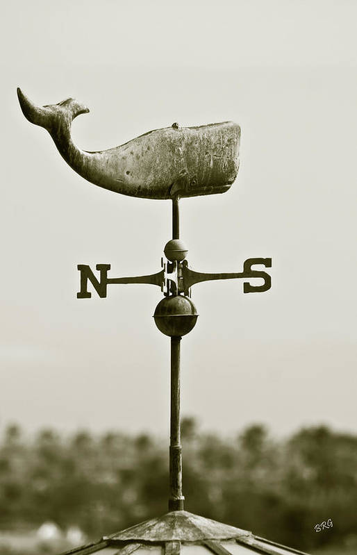 Whale Art Print featuring the photograph Whale Weathervane In Sepia by Ben and Raisa Gertsberg